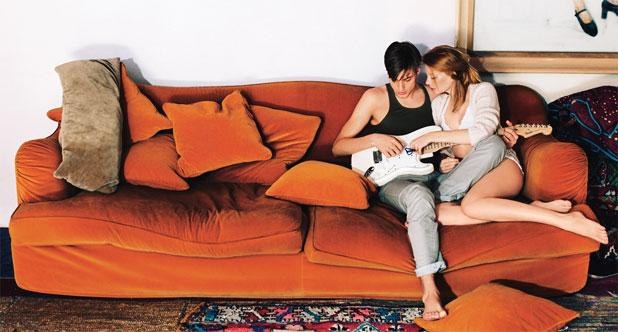 Cheating couple on a couch